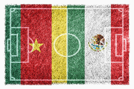 Flags of Cameroon and Mexico on soccer field photo