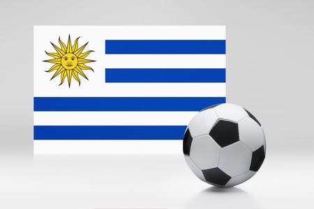 bandera de uruguay: Bandera de Uruguay con un balón de fútbol