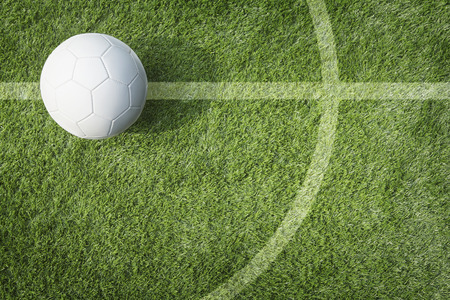 playing field:  A soccer ball on playing field Stock Photo