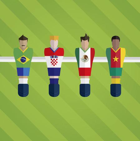 Estatuillas Foosball representan equipo de fútbol