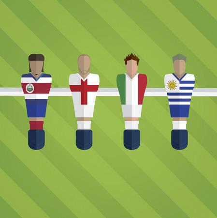 figurines: Foosball figurines represent football team