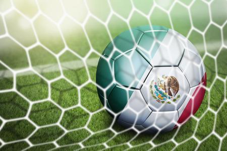 soccer goal: Mexico soccer ball in goal net Stock Photo