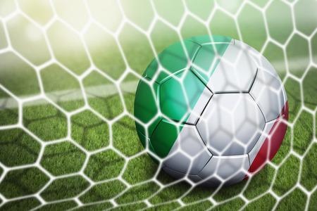 soccer goal: Italy soccer ball in goal net Stock Photo