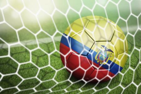 soccer net: Ecuador soccer ball in goal net