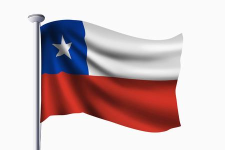bandera de chile: Bandera de Chile ondeando Foto de archivo