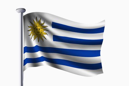 bandera de uruguay: Bandera de Uruguay agitando Foto de archivo