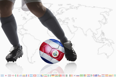 dribble: Soccer player dribble a soccer ball with Costa Rica flag