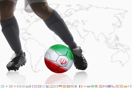 dribble: Soccer player dribble a soccer ball with Iran flag