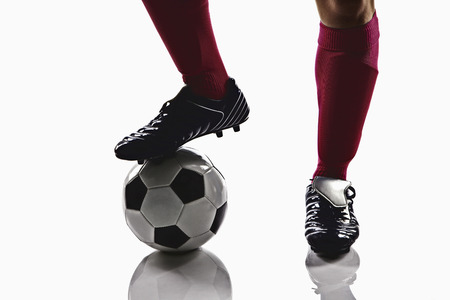 kick off: A soccer player ready to kick off