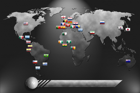 Metal plate with world map and soccer team Фото со стока