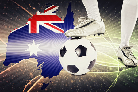 kick off: Australia soccer player ready for kick off Stock Photo