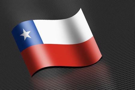 チリの国旗を振って 写真素材