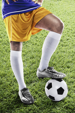 kick off: Bosnia and Herzegovina soccer player ready for kick off Stock Photo