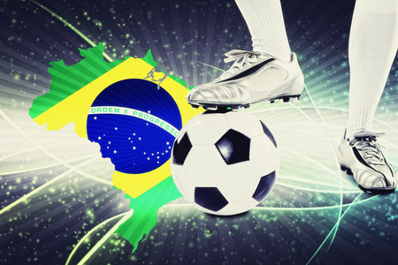 kick off: Brazil soccer player ready for kick off Stock Photo