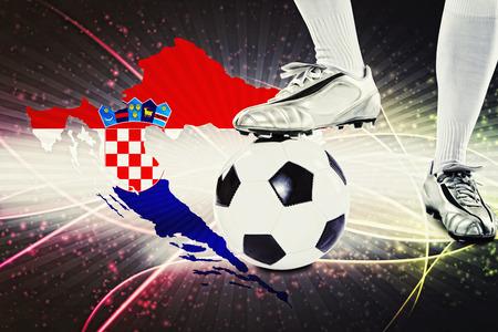 croatia flag: Croatia soccer player ready for kick off