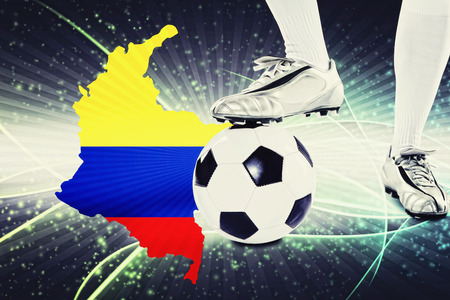 colombia flag: Colombia soccer player ready for kick off