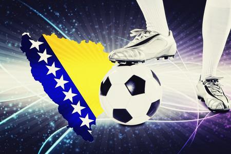 herzegovina: Bosnia and Herzegovina soccer player ready for kick off Stock Photo