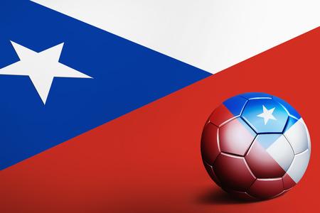 bandera de chile: Bandera de Chile con balón de fútbol