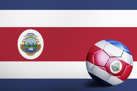bandera de costa rica: Bandera de Costa Rica con balón de fútbol