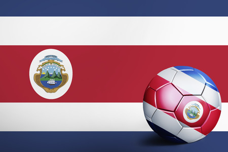 Costa Rica flag with soccer ball Stock Photo