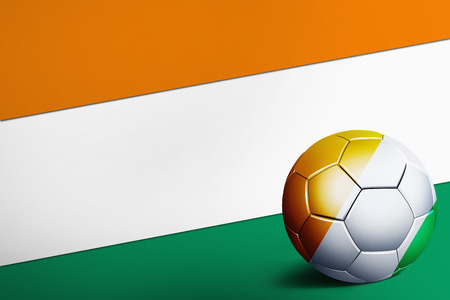sovereign: Ivory Coast flag with soccer ball Stock Photo