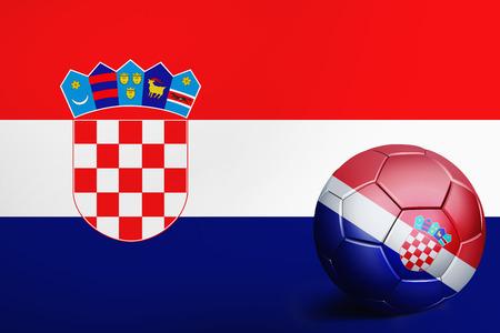 Croatia flag with soccer ball Imagens