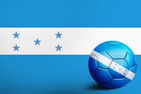 bandera honduras: Bandera de Honduras con balón de fútbol Foto de archivo