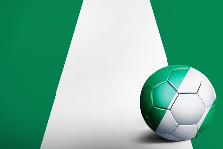 sovereign: Nigeria flag with soccer ball Stock Photo