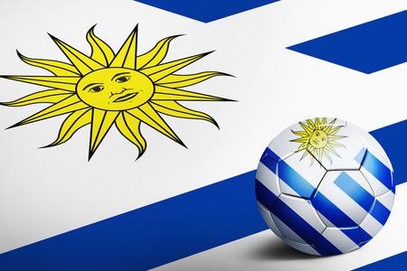 uruguay flag: Uruguay flag with soccer ball Stock Photo