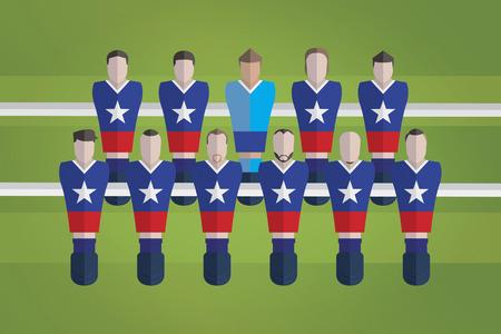 represent: Foosball figurines represent Chile football team