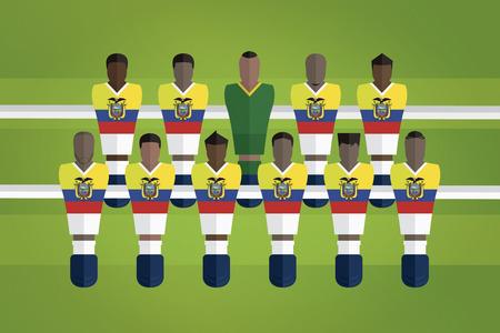 Foosball figurines represent Ecuador football team 向量圖像