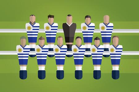Foosball figurines represent Uruguay football team