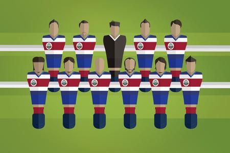Foosball figurines represent Costa Rica football team Vector