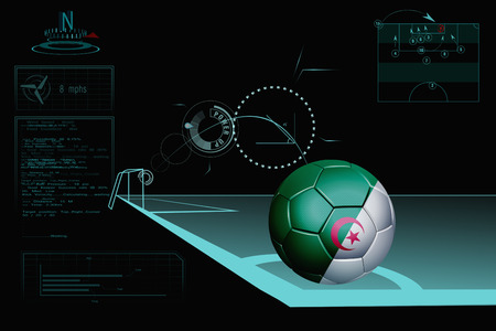 Taking a corner infographic with Algeria soccer ball photo