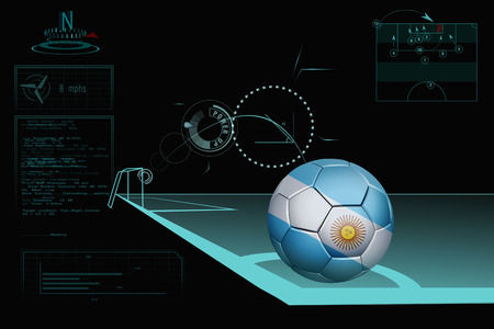 Taking a corner infographic with Argentina soccer ball photo