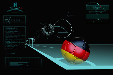 Taking a corner infographic with Germany soccer ball photo