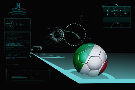 Taking a corner infographic with Italy soccer ball photo