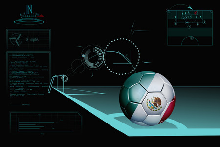 Taking a corner infographic with Mexico soccer ball photo
