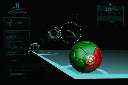 Taking a corner infographic with Portugal soccer ball photo