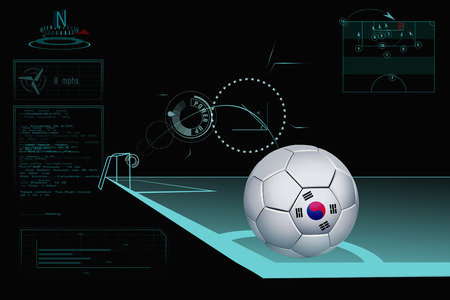 Taking a corner infographic with South Korea soccer ball photo
