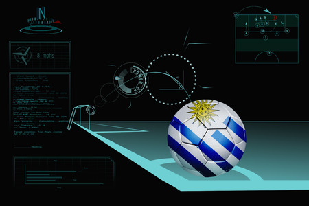 uruguay: Taking a corner infographic with Uruguay soccer ball