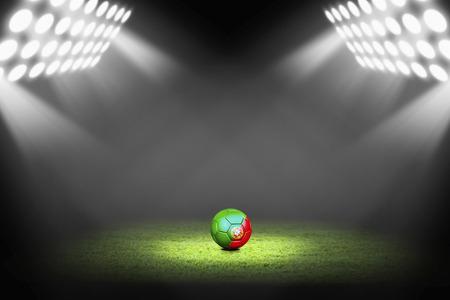 Portugal ball on the soccer field Фото со стока