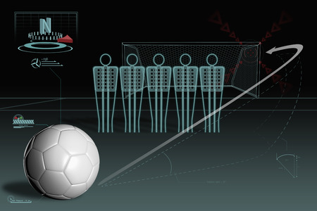 Free kick infographic with plain soccer ball