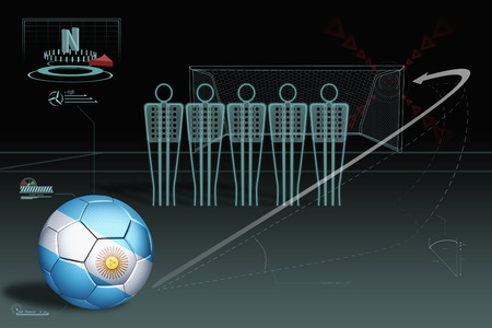 tactics: Free kick infographic with Argentina soccer ball Stock Photo