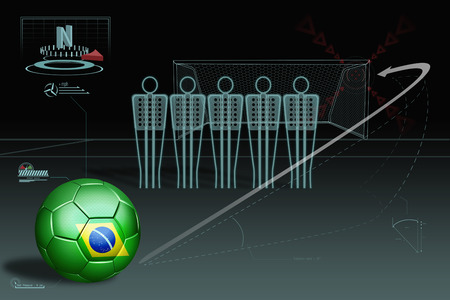 Free kick infographic with Brazil soccer ball photo