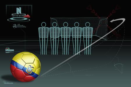 ecuador: Free kick infographic with Ecuador soccer ball