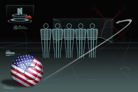 Free kick infographic with USA soccer ball photo