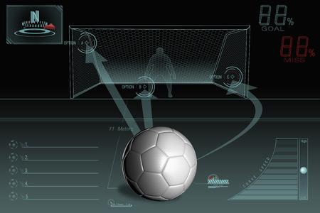 Pena de infografía patada con balón de fútbol llano