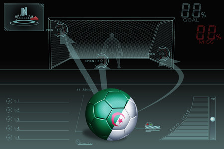 penalty flag: Penalty kick infographic with Algeria soccer ball Stock Photo
