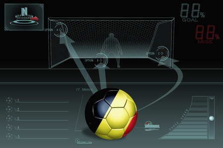 Penalty kick infographic with Belgium soccer ball photo